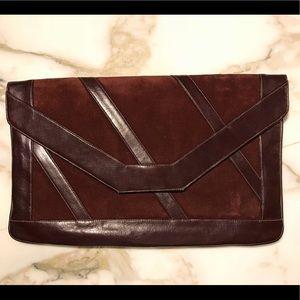 Handbags - Vintage Maroon Patent & Velvet Leather  Clutch
